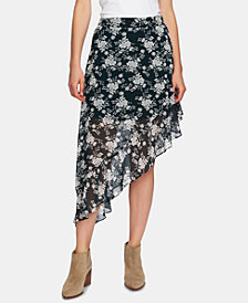 1.STATE Printed Ruffled Asymmetric Skirt