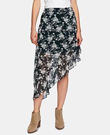 1.STATE Printed Ruffled Asymmetric Skirt
