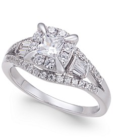 Diamond Princess Engagement Ring (1 ct. t.w) in 14k White Gold