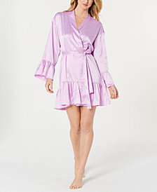 I.N.C. Satin Jacquard Flounce Wrap Robe, Created for Macy's