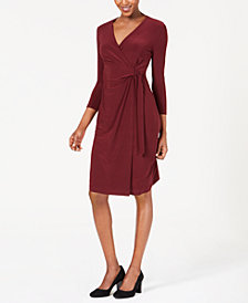Anne Klein Solid Faux-Wrap Dress