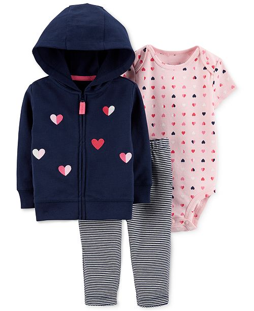 Carter's Baby Girls 3-Pc. Cotton Heart Hoodie, Bodysuit & Leggings Set