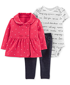 Carter's Baby Girls 3-Pc. Dot-Print Jacket, Bodysuit & Denim Leggings Set