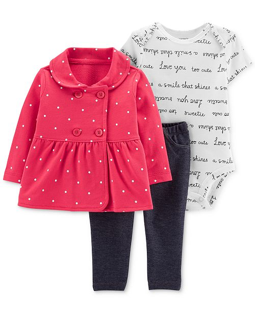 df0469e5f980 Carter s Baby Girls 3-Pc. Dot-Print Jacket