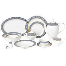 Lorren Home Trends Sapphire 57-PC Dinnerware Set, Service for 8