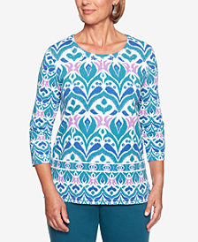 Alfred Dunner Comfortable Situations Embellished Scroll-Print Top