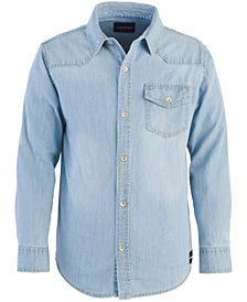 Calvin Klein Big Boys Iconic Denim Cotton Shirt