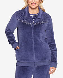 Alfred Dunner Comfortable Situations Embellished Velour Zip Jacket