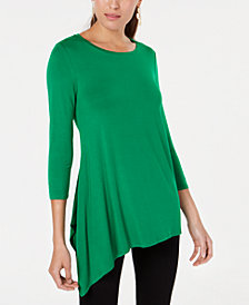 Alfani Asymmetrical-Hem Top, Created for Macy's