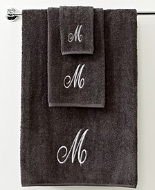 Bath Towels, Monogram Initial Script Granite and Silver Collection