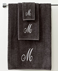 "Avanti Bath Towels, Monogram Initial Script Granite and Silver 11"" x 18"" Fingertip"