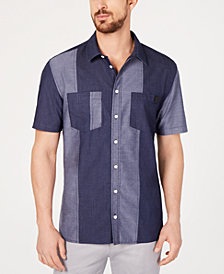 DKNY Men's Regular-Fit Colorblocked Patchwork Shirt