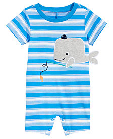 First Impressions Baby Boys Striped Whale Cotton Romper, Created for Macy's