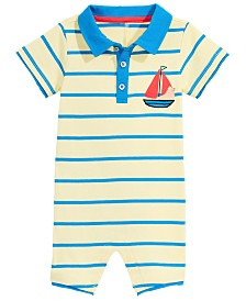 First Impressions Baby Boys Collared Striped Sailboat Cotton Romper, Created for Macy's