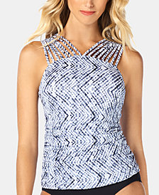 Swim Solutions Smolder Printed Strappy-Neck Tankini Top, Created for Macy's