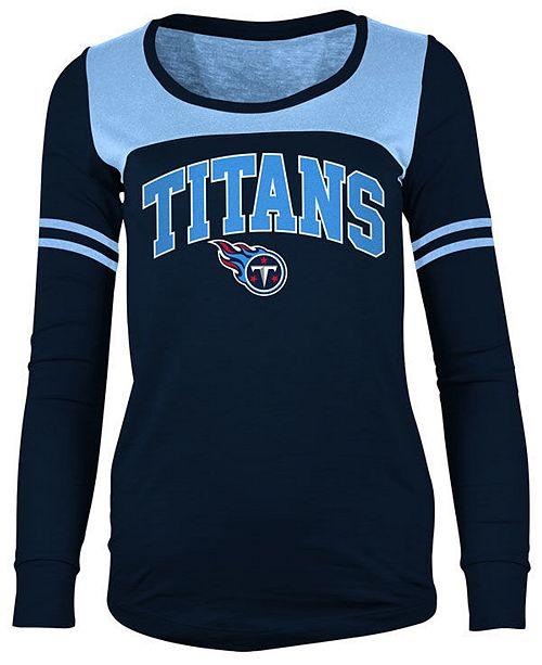 5th & Ocean Women's Tennessee Titans Sleeve Stripe Long Sleeve T-Shirt