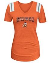c098fb3e8 5th   Ocean Women s Cleveland Browns Shoulder Stripe Foil T-Shirt