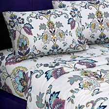 Abstract Paisley Printed Extra Deep Pocket Flannel Queen Sheet Set