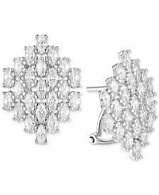 Tiara Cubic Zirconia Marquise Mesh Drop Earrings in Sterling Silver