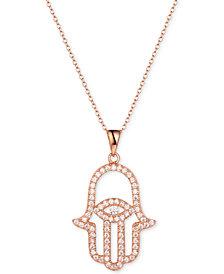 """Tiara Cubic Zirconia Hamsa Hand 18"""" Pendant Necklace in Sterling Silver"""