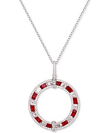 """Cubic Zirconia Circle 18"""" Pendant Necklace in Sterling Silver"""