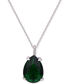 "Tiara Cubic Zirconia Teardrop 18"" Pendant Necklace"