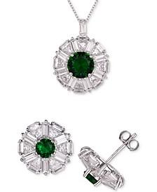 2-Pc. Set Cubic Zirconia Halo Pendant Necklace & Matching Stud Earrings