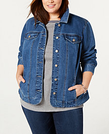 Charter Club Plus Size Denim Jacket, Created for Macy's