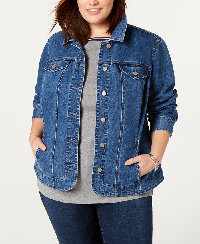 Charter Club - Plus Size Denim Jacket, Nantucket Wash