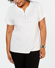 Plus Size Cotton Henley Top, Created for Macy's