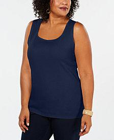 Karen Scott Plus Size Cotton Square-Neck Tank Top, Created for Macy's