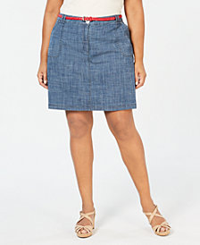 Karen Scott Plus Size Chambray A-Line Skort, Created for Macy's
