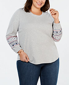 Style & Co Plus Size Cotton Embroidered-Sleeve Sweatshirt, Created for Macy's