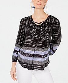 Style & Co Border-Print Lattice-Detail Peasant Top, Created for Macy's