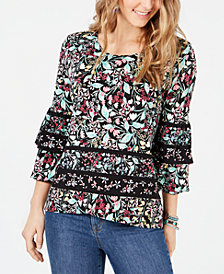 Style & Co Floral-Print Tiered-Sleeve Crossover Top