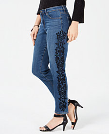 Style & Co Cotton Flocked Boyfriend Ankle Jeans, Created for Macy's