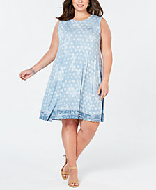 Style & Co Plus Size Border-Print Sleeveless Dress, Created for Macy's