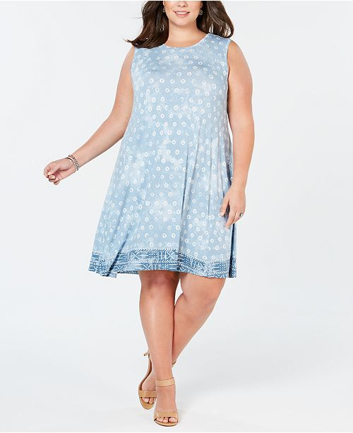 dc50dd30431471 ... Style & Co Plus Size Border-Print Sleeveless Dress, Created for Macy's  ...