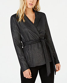 XOXO Juniors' Metallic Wrap Jacket
