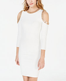XOXO Juniors' Embellished Cold-Shoulder Dress