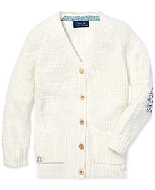 Polo Ralph Lauren Little Girls Elbow-Patch Cotton Boyfriend Cardigan