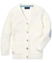 37655ad1c3ec Polo Ralph Lauren Little Girls Elbow-Patch Cotton Boyfriend Cardigan