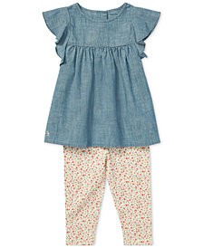 Polo Ralph Lauren Baby Girls Chambray Top & Floral-Print Leggings Set