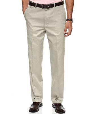 Haggar No Iron Cotton Classic Fit Flat Front Dress Pants - Pants ...