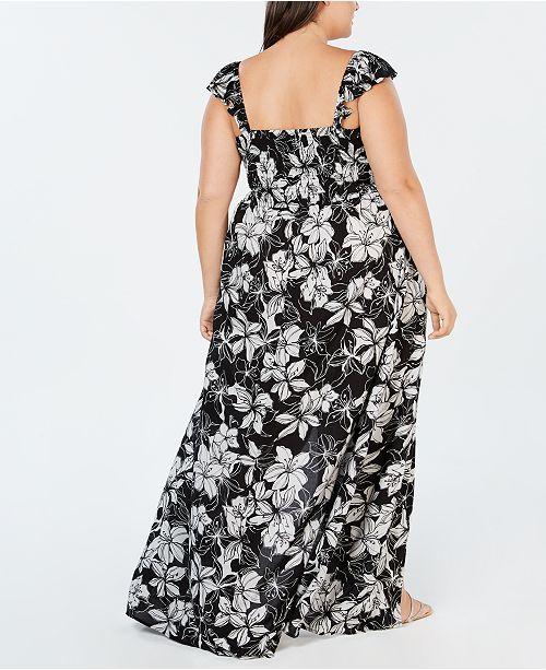 bb6ccc3360d65 Raviya Plus Size Printed Maxi Dress Cover-Up - Swimwear - Plus Sizes ...