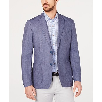 Calvin Klein Men's Slim-Fit Blue Stripe Sport Coat