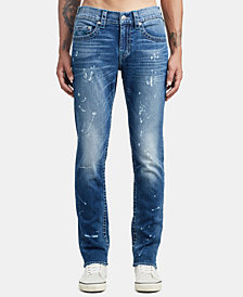 True Religion Mens Skinny-Fit Bleach Splatter Jeans