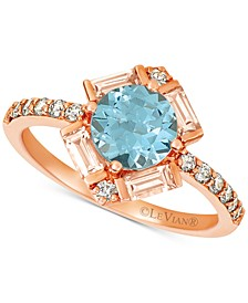 Baguette Frenzy® Multi-Gemstone (1-1/3 ct. t.w.), and Nude Diamond (1/4 ct. t.w.) Ring in 14k Strawberry Gold