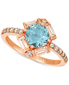Le Vian Baguette Frenzy® Multi-Gemstone (1-1/3 ct. t.w.), and Nude Diamond (1/4 ct. t.w.) Ring in 14k Strawberry Gold