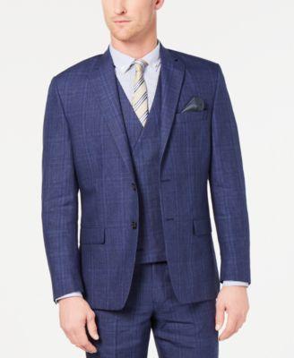 Men's Classic-Fit UltraFlex Stretch Blue Plaid Suit Jacket